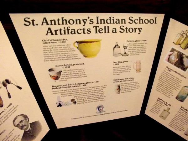 St. Anthony's Indian School Artifacts Tell a Story. Many objects on display include porcelain cups, goblets, bottles, a saltshaker and beer mug.