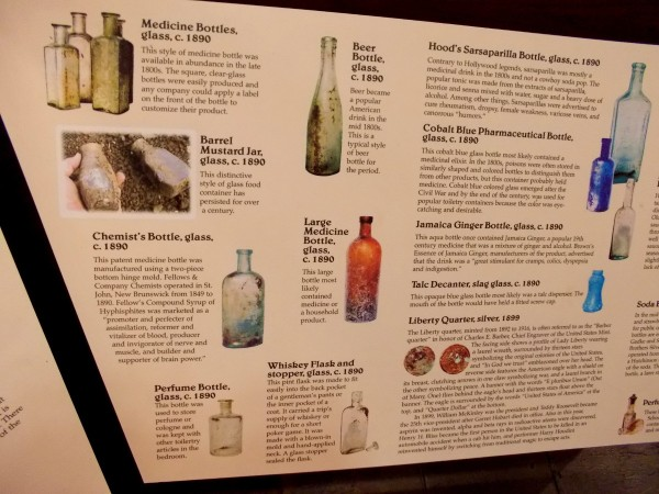 Numerous bottles and jars are exhibited in the Casa de Aguirre Museum. They were used for medicine, mustard, chemicals, perfume, whiskey, beer, sarsaparilla...