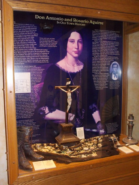 Don Antonio and Rosario Aguirre in Old Town History. The museum is located in what was once the bedroom and servants quarters in the Casa de Aguirre. The present-day adobe is a reproduction.