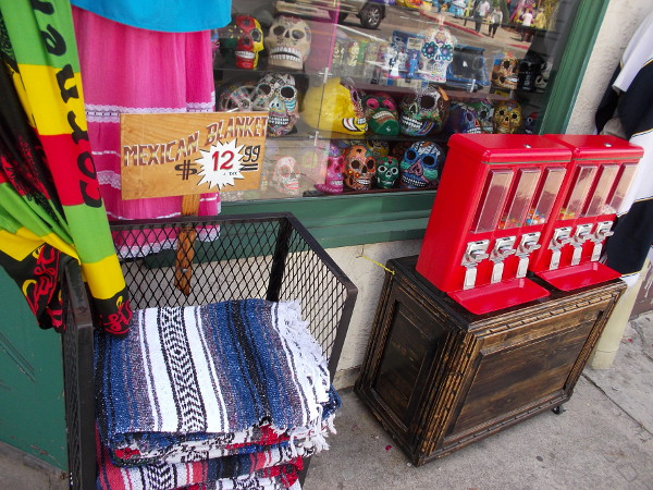 Many colorful items for sale at shops up and down San Diego Avenue are from Mexico, or have a Mexican theme.