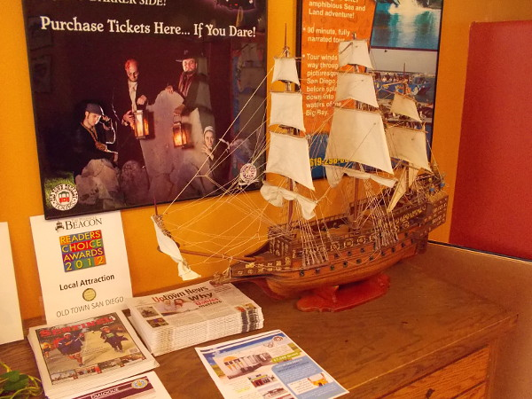 A cool model of a Spanish galleon (I believe) and some useful free literature inside the Visitor Information center.