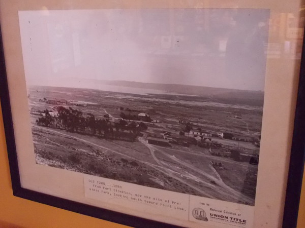 Several interesting historical photographs can be found inside the Old Town Chamber of Commerce. This one from 1898 shows tiny Old Town San Diego at the base of Presidio Hill.