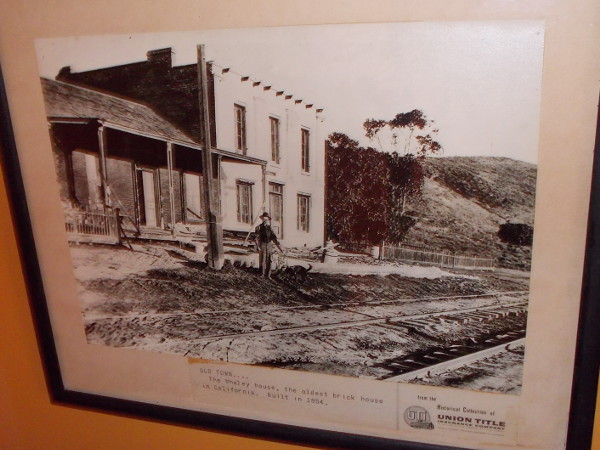 Vintage photo of the famous Whaley House, the oldest brick house in California, built in 1854.