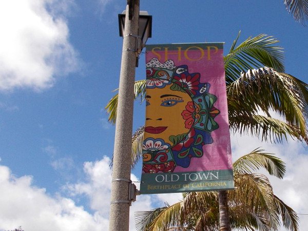 A festive banner in a perfect San Diego sky.