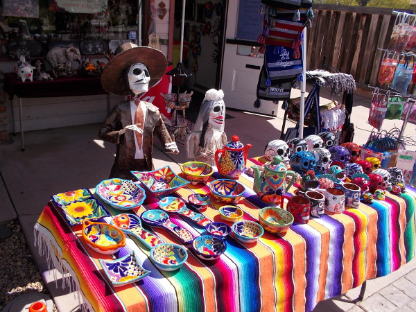 Many curios and crafts for sale in Old Town shops are related to Mexico's traditional Día de Muertos, or Day of the Dead.