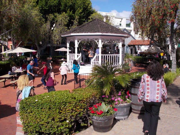 As I walked along San Diego's Embarcadero today, I noted a lot of energy around Seaport Village's East Plaza Gazebo.
