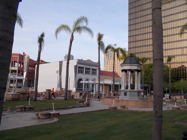Construction of the new civic park has been ongoing for a couple years. This plot of land was originally called Horton Plaza, and dates from 1895.