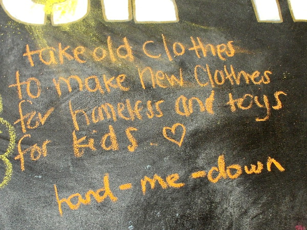 Take old clothes to make new clothes for homeless and toys for kids.