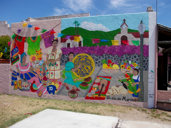 Un dia de Mercado. A colorful new street mural on Adams Avenue in San Diego's Normal Heights neighborhood.