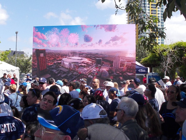 A videoboard showed various conceptual drawings of what the proposed downtown stadium would look like. It would also be used for conventions.