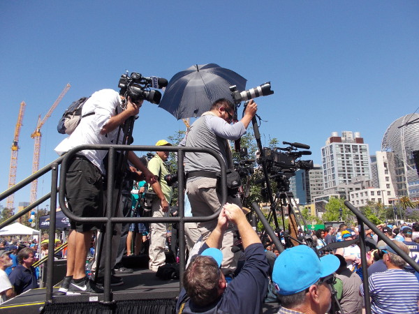 Camera people get ready for the heavily promoted event to begin.