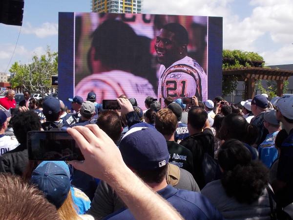 Footage of LaDainian Tomlinson's football exploits was a big crowd pleaser.