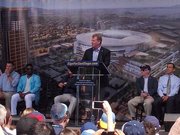 Roger Goodell, Commissioner of the National Football League, advocates for a new football stadium downtown.