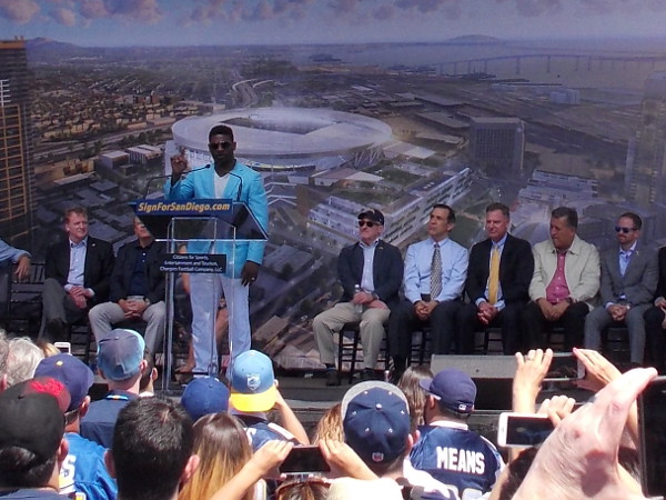 LaDainian Tomlinson, one of the best running backs in NFL history, flew in from Texas for the event. He was clearly the crowd favorite and received loud cheers.