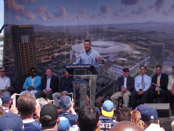 Philip Rivers, star quarterback of the San Diego Chargers, got the crowd excited during the petition event.