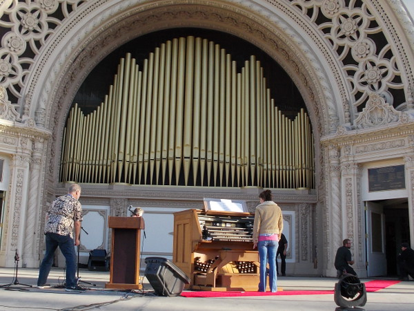 Getting the famous Spreckels Organ ready. San Diego Civic Organist Dr. Carol Williams looks on.