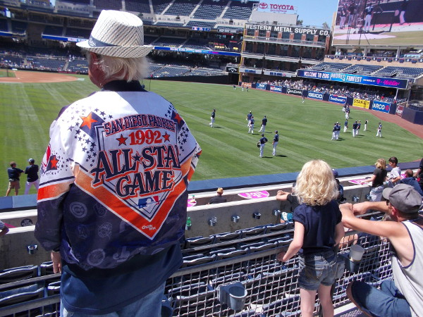 Guy attending 2016 Padres FanFest wears an old 1992 San Diego All-Star Game jacket, reminding everyone that the Midsummer Classic is returning this year!
