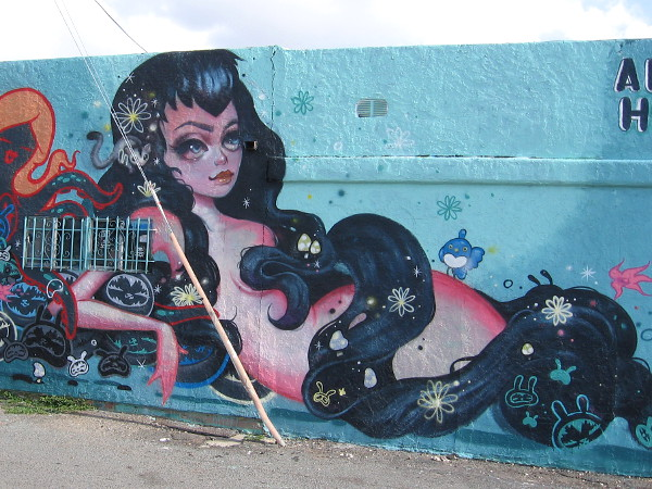 Imaginative urban artwork decorates a building wall in San Diego's North Park.