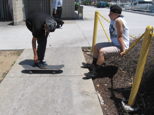 Skaters take a break in the sunshine near Tuna Harbor.