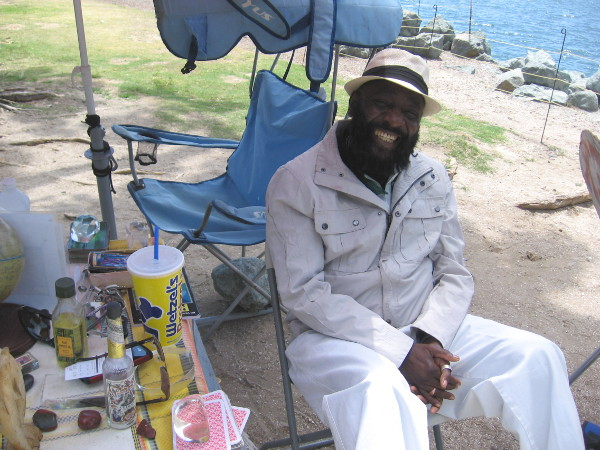 Papa Alex is a very friendly, happy, soulful psychic. He hangs out near Seaport Village and Embarcadero Marina Park North. His motto is: