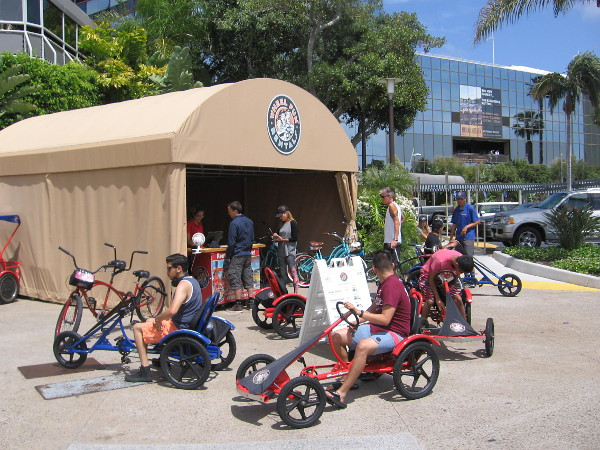 Tourists rent some wheels near the Marriott Marquis and Marina.