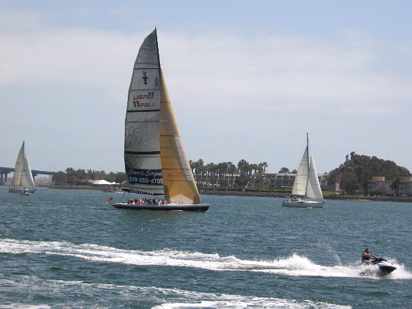 I rested for a bit on the fishing pier at Embarcadero Marina Park South. Here comes the Stars and Stripes racing yacht, carrying people enjoying an adventure on our picturesque bay.