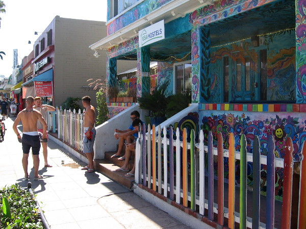 Those look more like surfers than hippies. Hanging out in front of the fun youth hostel in OB.