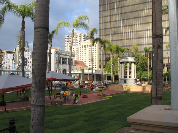 About a week before the grand opening of the new Horton Plaza Park, many workers were applying the final touches.