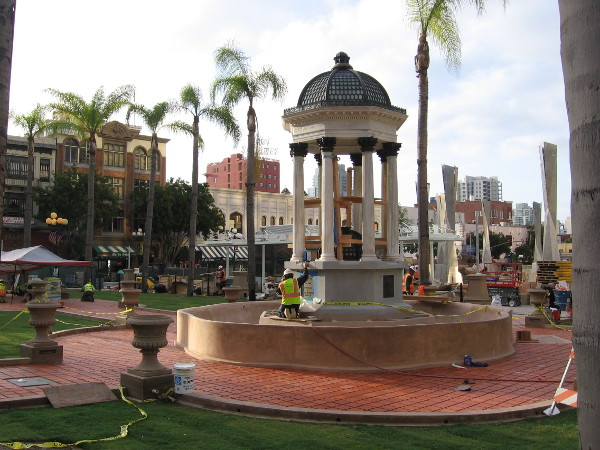The historic 1910 Broadway Fountain, designed by Irving Gill, is prepared for the amazing new Horton Plaza Park's grand opening.