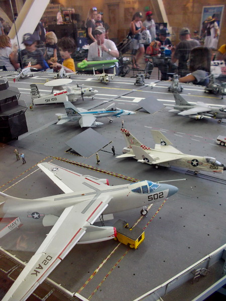 A closer photo of the USS Midway model inside Petco Park's Power Alley. I even see some tiny sailors!