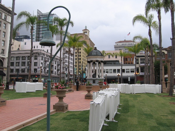 A tile walkway along the north edge of Horton Plaza Park preserves a century of history in San Diego.