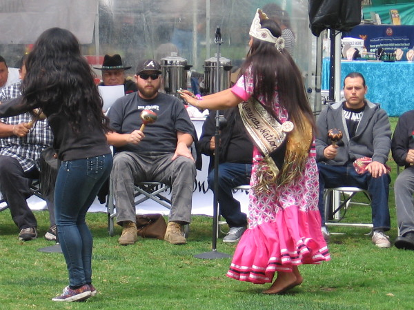 Dancing to traditional Kumeyaay Bird Songs in Balboa Park during the American Indian Health Center Pow Wow.