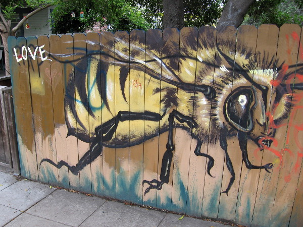 A large bee and the word LOVE. Street art on a fence near the top of Golden Hill.