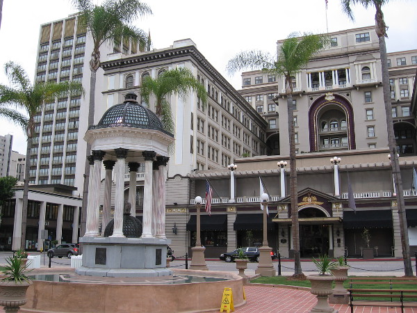 San Diego's iconic Broadway Fountain, with the equally famous U.S. Grant Hotel in the background. The hotel was built by the son of Ulysses S. Grant and opened in 1910.