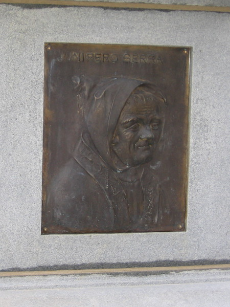 Plaque near base of Broadway Fountain depicts Father Junipero Serra, founder of the first Spanish missions in California, including Mission Basilica San Diego de Alcalá.