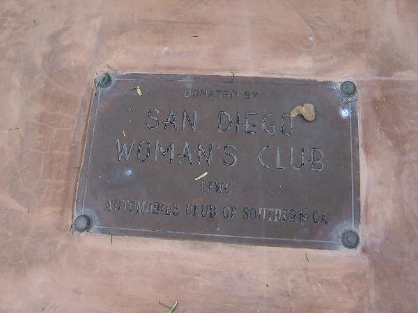 Small plaque beneath the El Camino Real bell in Horton Plaza Park.