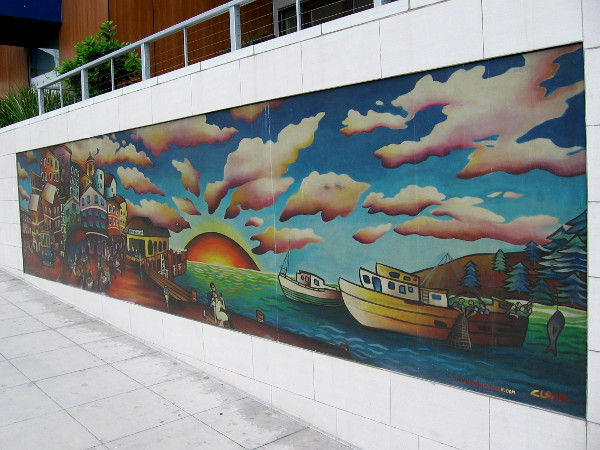 Little Italy mural painted by artist Stephanie Clair shows the life of a fishing town. Perhaps it resembles San Diego's past.