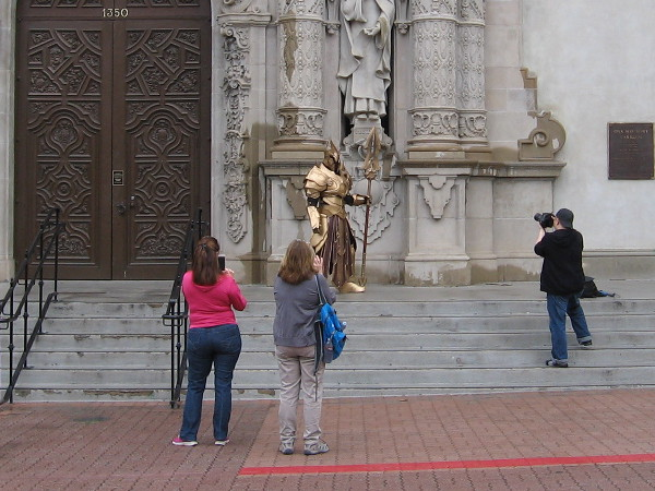 Visitors to Balboa Park in San Diego were surprised to see an exotic medieval knight in elaborate golden armor standing guard near the entrance to the Museum of Man.