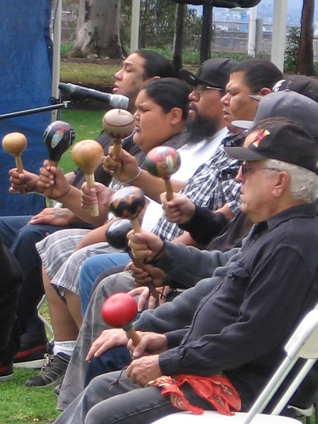 Gourd rattles are an important and powerful part of Kumeyaay Bird Songs. Traditionally, a musical sound has also been produced with a stick rubbed against a rough basket.