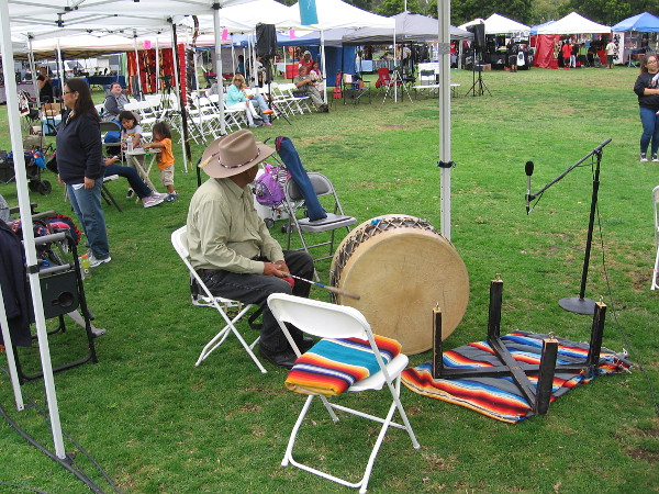 A large drum awaits on the grass as the Native American Pow Wow in San Diego has just begun.