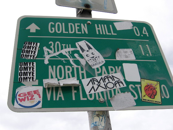 A sign points to Golden Hill as I walk east up Broadway from downtown San Diego.
