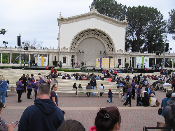 It's still an hour before the main programming begins, but people are already gathering in the Spreckels Organ Pavilion. There's the large mystery box on the left!