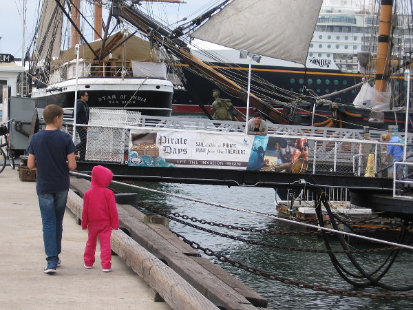 Strolling down the Embarcadero. Pirate Days is coming to the Maritime Museum of San Diego. Let the invasion begin!