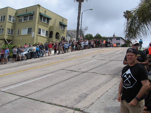 Okay, we're getting close now. The fast elite racers started in Mission Beach, about 15 minutes away.