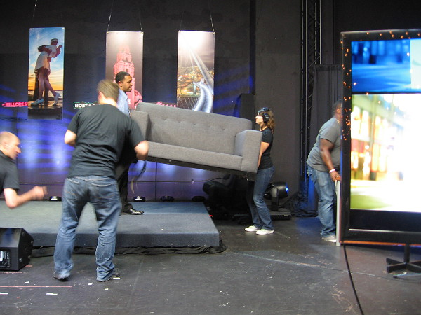 A quick change on the set. Getting ready for a musical act by talented guest Mike Pinto, who brought the house down.