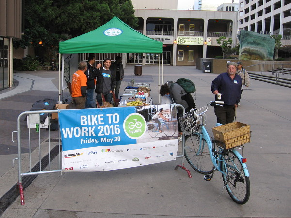 This pit stop in Civic Center Plaza near City Hall was already seeing some incoming cyclists at this early hour. There is an active City of San Diego Bicycle Program.