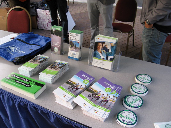 Bike maps, information and other goodies were given away to promote commuting by bicycle to work around San Diego.