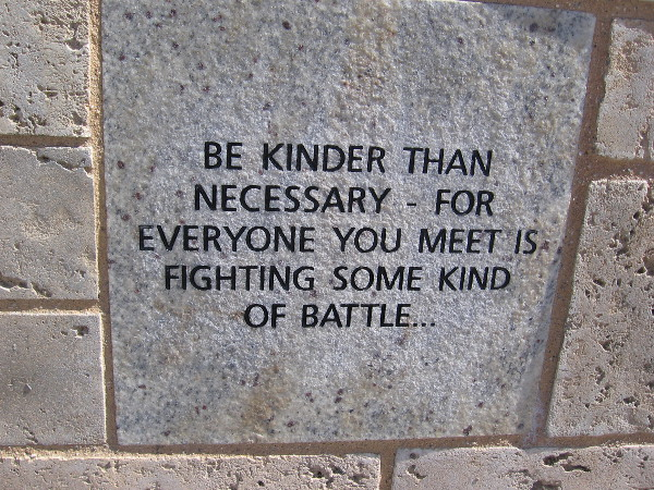 Be kinder than necessary - for everyone you meet is fighting some kind of battle...