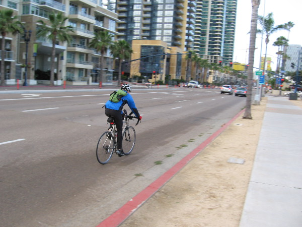 A bicyclist rolls down Pacific Highway on the morning of San Diego's Bike to Work Day.