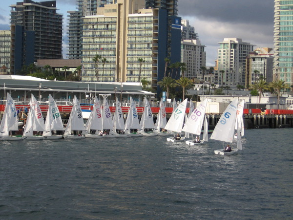 The leaders from this race lined up in finishing order. Fascinated, I watched from the Broadway Pier.